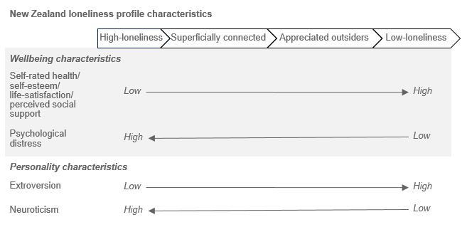 Diagram showing New Zealand loneliness profile characteristics